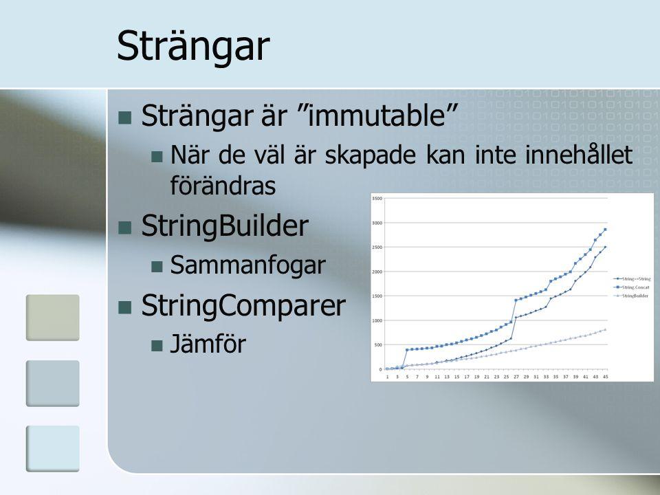 Strängar Strängar är immutable När de väl är skapade kan inte innehållet förändras StringBuilder Sammanfogar StringComparer Jämför