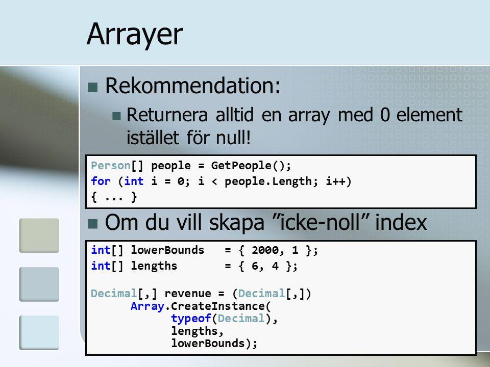 Arrayer Rekommendation: Returnera alltid en array med 0 element istället för null.