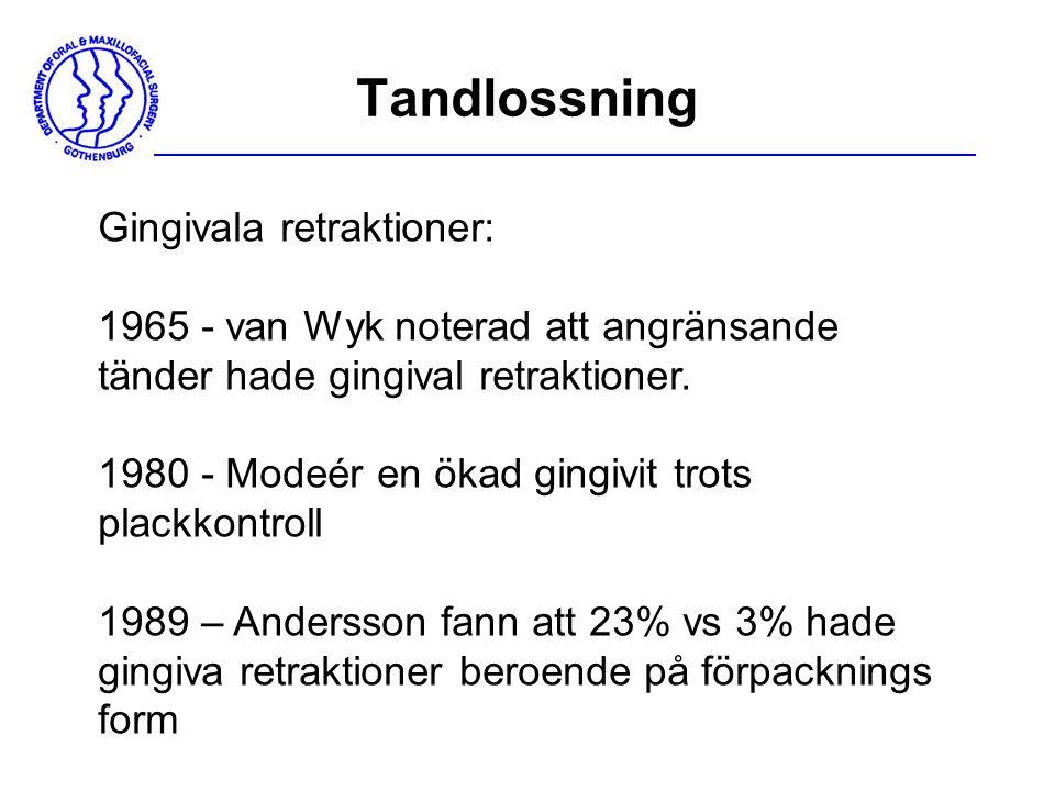 Tandlossning Gingivala retraktioner: 1965 - van Wyk noterad att angränsande tänder hade gingival retraktioner. 1980 - Modeér en ökad gingivit trots pl