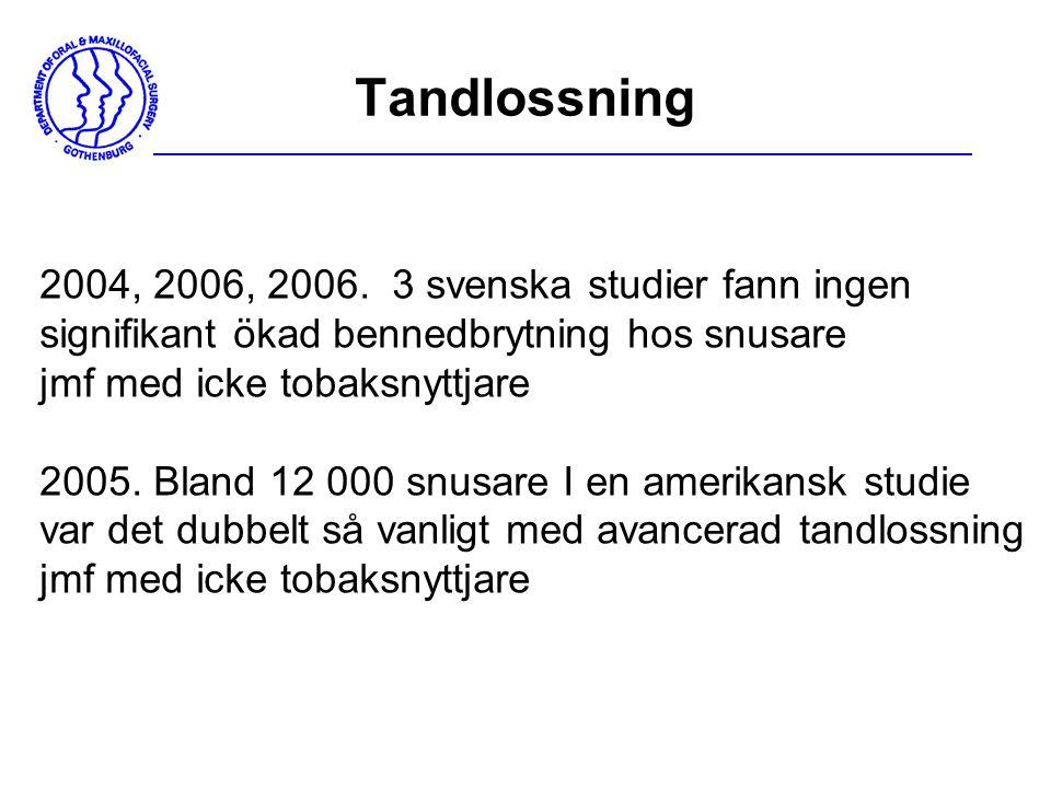 Tandlossning 2004, 2006, 2006. 3 svenska studier fann ingen signifikant ökad bennedbrytning hos snusare jmf med icke tobaksnyttjare 2005. Bland 12 000
