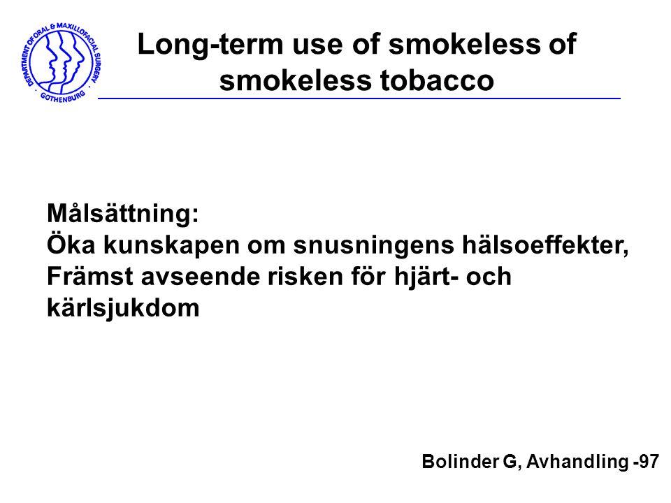 Long-term use of smokeless of smokeless tobacco Målsättning: Öka kunskapen om snusningens hälsoeffekter, Främst avseende risken för hjärt- och kärlsju