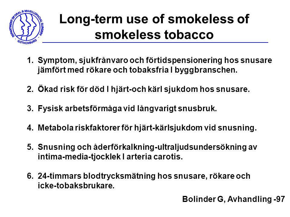 Long-term use of smokeless of smokeless tobacco 1.Symptom, sjukfrånvaro och förtidspensionering hos snusare jämfört med rökare och tobaksfria I byggbr