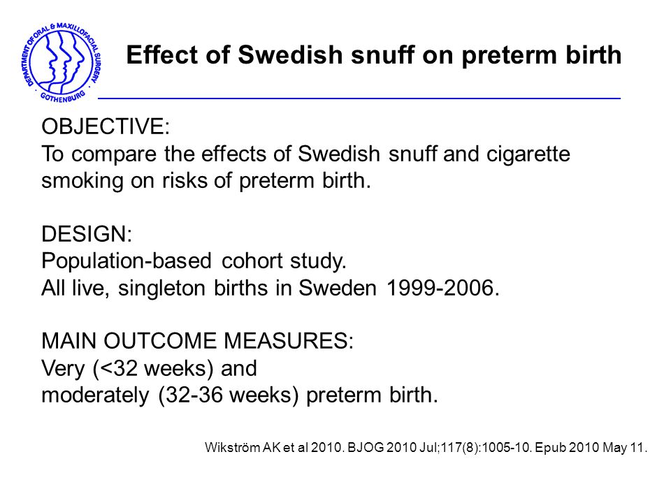OBJECTIVE: To compare the effects of Swedish snuff and cigarette smoking on risks of preterm birth. DESIGN: Population-based cohort study. All live, s