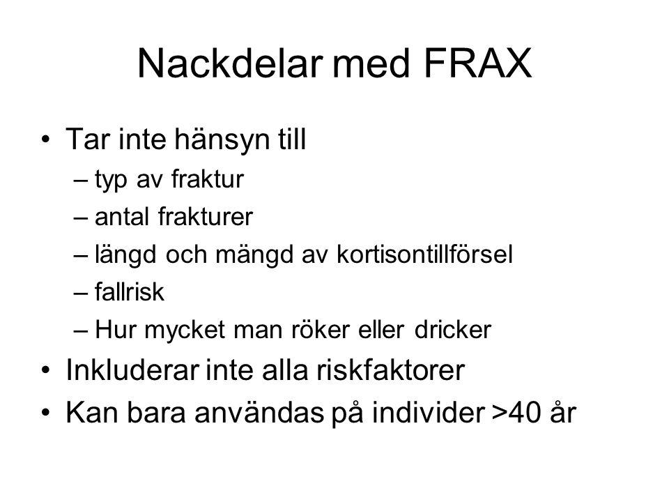 Nackdelar med FRAX Tar inte hänsyn till –typ av fraktur –antal frakturer –längd och mängd av kortisontillförsel –fallrisk –Hur mycket man röker eller