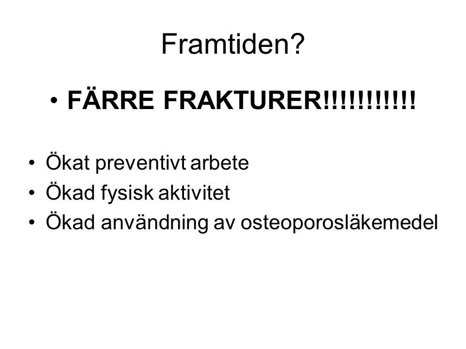Framtiden? FÄRRE FRAKTURER!!!!!!!!!!! Ökat preventivt arbete Ökad fysisk aktivitet Ökad användning av osteoporosläkemedel