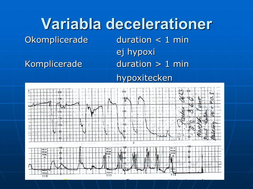 Y Vladic Stjernholm Variabla decelerationer Okomplicerade duration < 1 min ej hypoxi Komplicerade duration > 1 min hypoxitecken