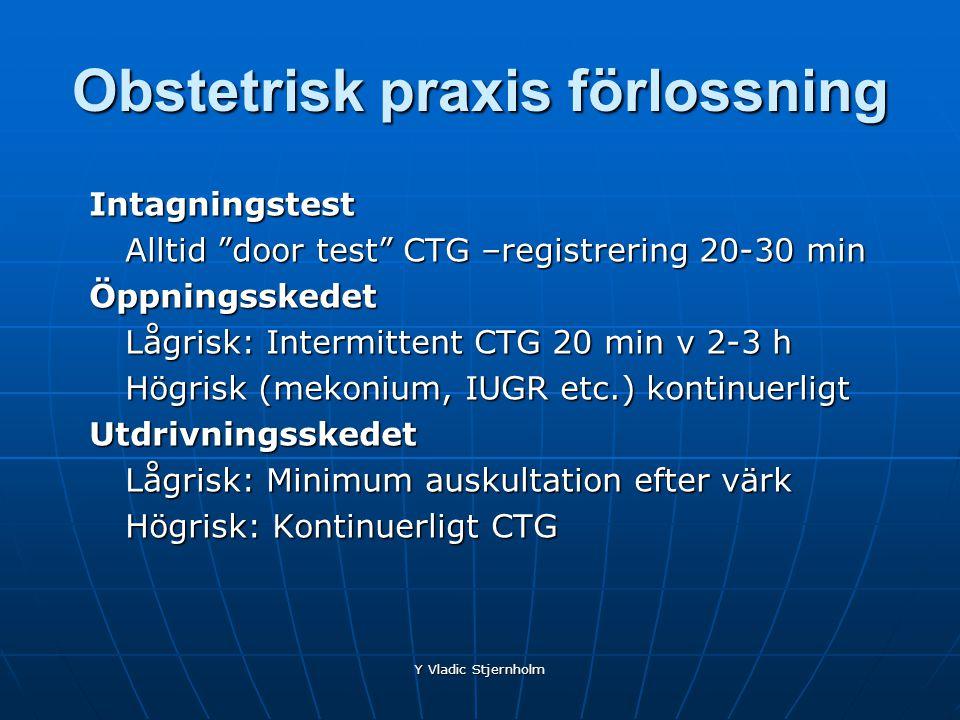 """Y Vladic Stjernholm Obstetrisk praxis förlossning Intagningstest Alltid """"door test"""" CTG –registrering 20-30 min Öppningsskedet Lågrisk: Intermittent C"""