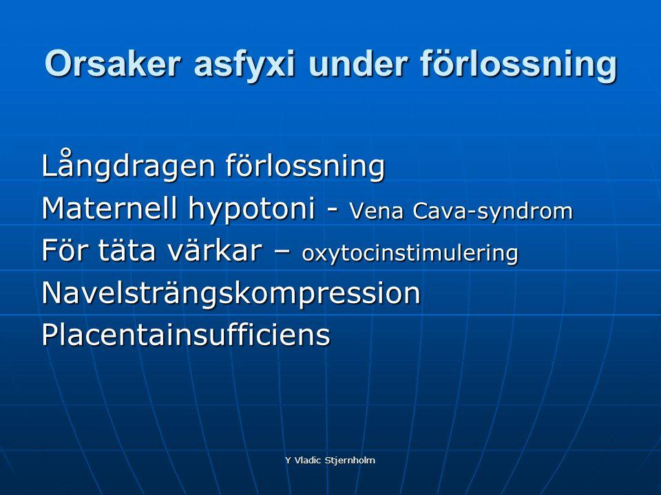 Y Vladic Stjernholm Orsaker asfyxi under förlossning Långdragen förlossning Maternell hypotoni - Vena Cava-syndrom För täta värkar – oxytocinstimuleri
