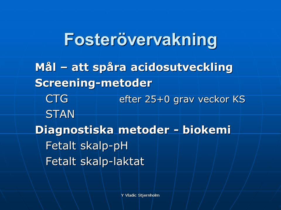 Y Vladic Stjernholm Fosterövervakning Mål – att spåra acidosutveckling Screening-metoder CTG efter 25+0 grav veckor KS STAN Diagnostiska metoder - bio