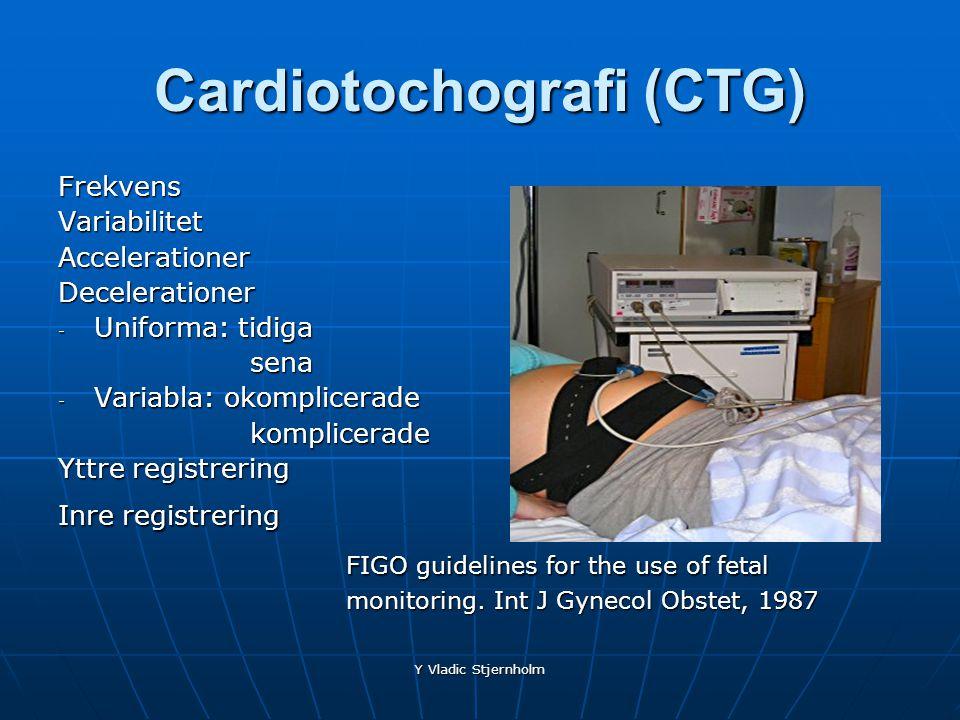 Y Vladic Stjernholm Cardiotochografi (CTG) FrekvensVariabilitetAccelerationerDecelerationer - Uniforma: tidiga sena - Variabla: okomplicerade komplice
