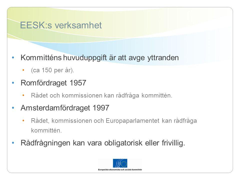 EESK:s verksamhet EESK kan dessutom avge yttranden på eget initiativ, avge förberedande yttranden, arbeta för att underlätta och främja den civila dialogen.