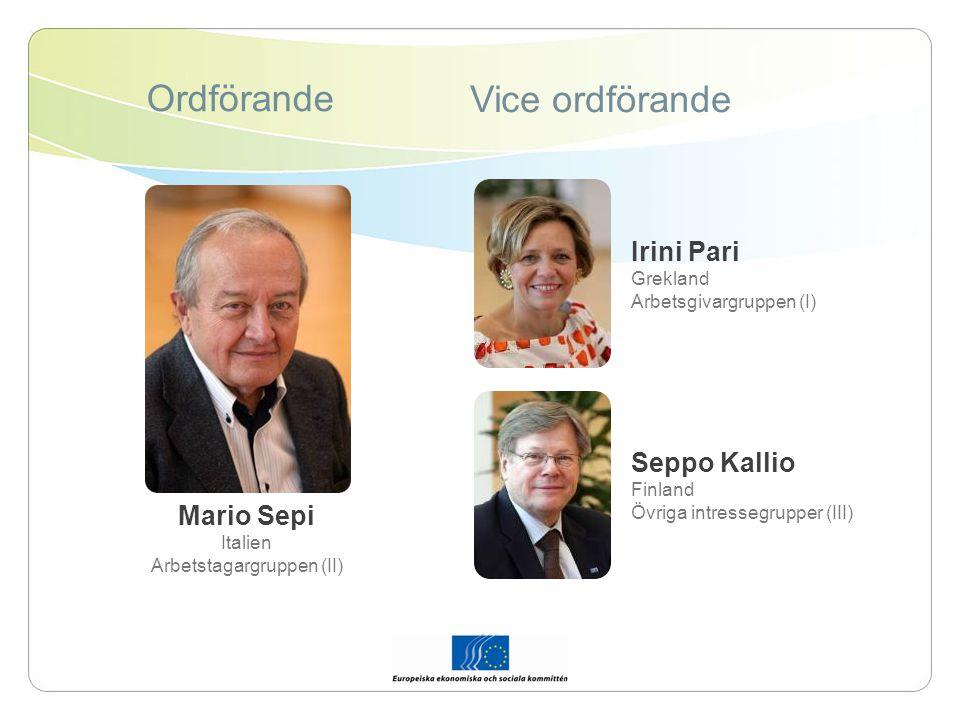 Ordförande Vice ordförande Mario Sepi Italien Arbetstagargruppen (II) Irini Pari Grekland Arbetsgivargruppen (I) Seppo Kallio Finland Övriga intressegrupper (III)