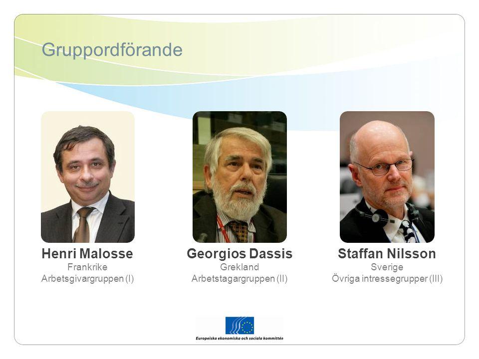Gruppordförande Henri Malosse Frankrike Arbetsgivargruppen (I) Georgios Dassis Grekland Arbetstagargruppen (II) Staffan Nilsson Sverige Övriga intressegrupper (III)