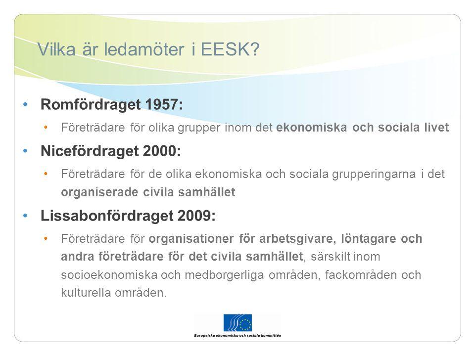 Vad är EESK.EESK är en församling med 344 ledamöter från EU:s 27 medlemsstater.