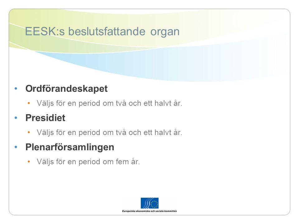 EESK:s beslutsfattande organ Ordförandeskapet Väljs för en period om två och ett halvt år.