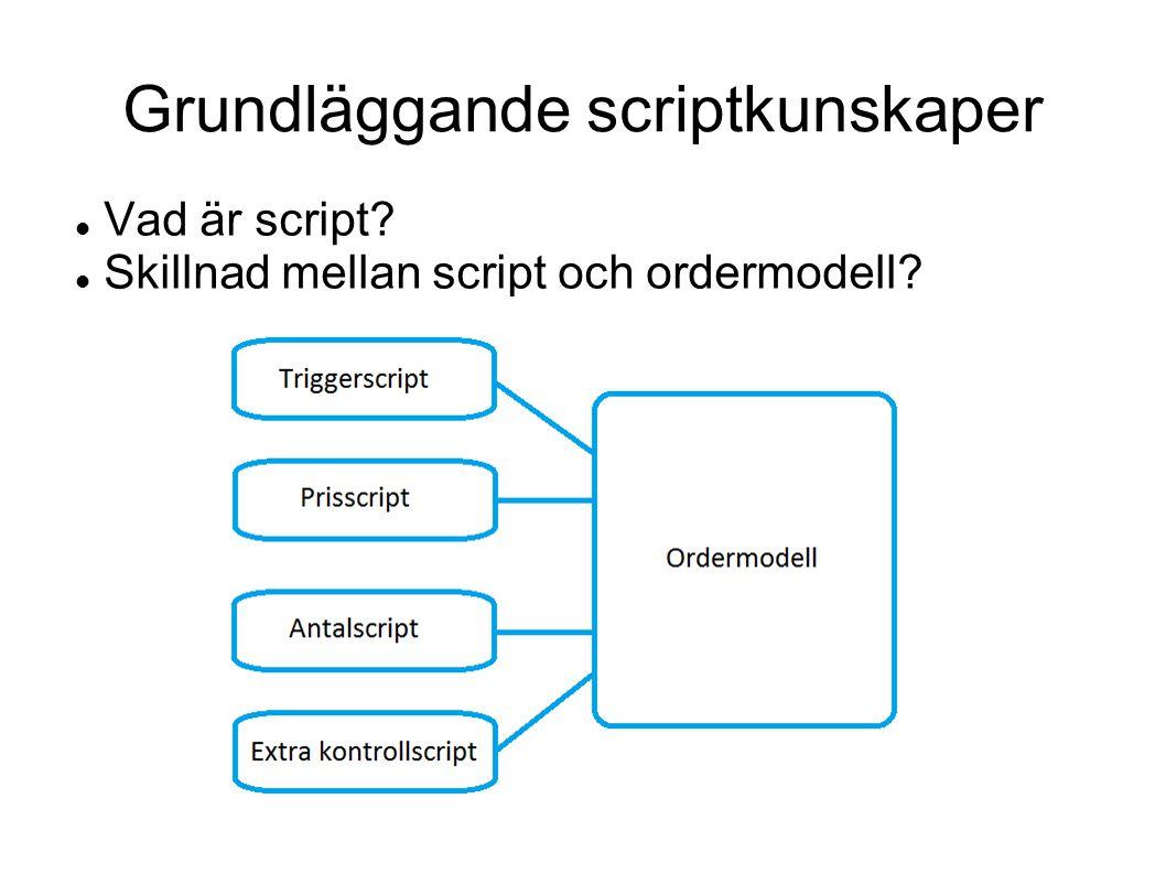 Best practice – skriva och ordermodeller 1.Lägg minnesreferenser samlat längst ned i scriptet 2.