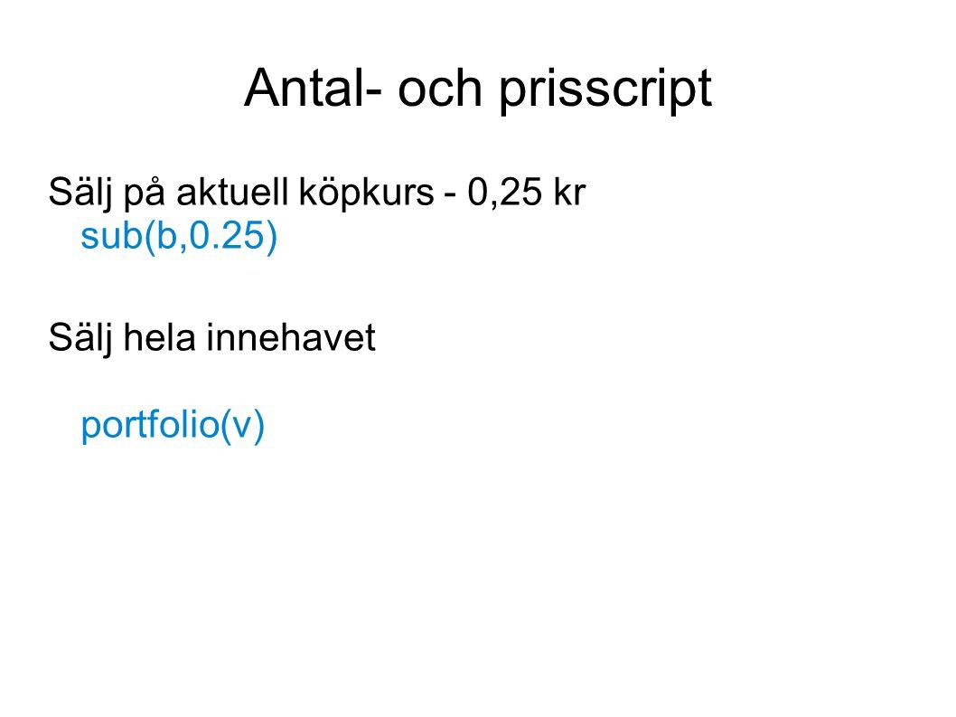 Antal- och prisscript Sälj på aktuell köpkurs - 0,25 kr sub(b,0.25) Sälj hela innehavet portfolio(v)
