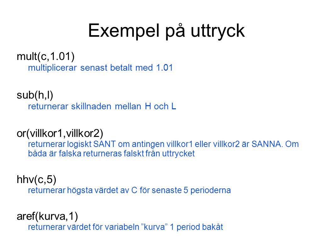 Exempel på uttryck mult(c,1.01) multiplicerar senast betalt med 1.01 sub(h,l) returnerar skillnaden mellan H och L or(villkor1,villkor2) returnerar lo
