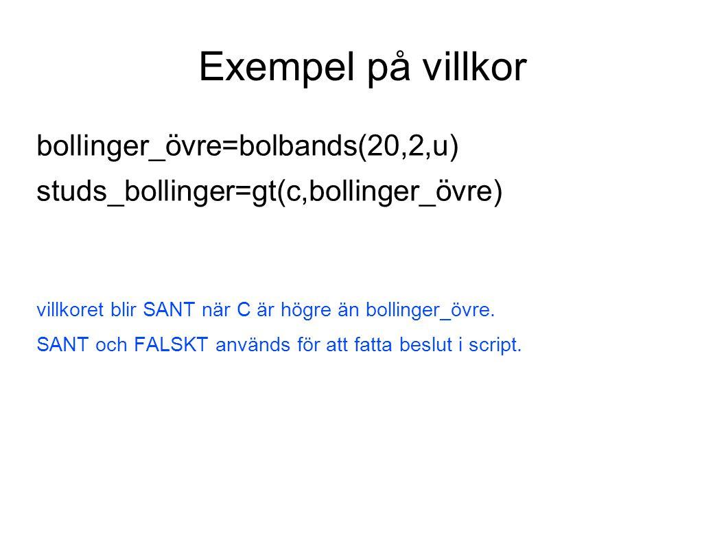 Triggerscriptet för säljsidan omxs30=cmpref(c,0,a){ läser in kurs för OMXS30 } innehav=gt(portfolio(v),0){ testar om innehav större än noll } hi=freq(omxs30,30,10000.3,h){ definierar övre frekvensband – används som säljnivå } klocka=frac(date()){ läser in klockslag } kl1720=gt(klocka,0.722){ testar om kl senare än 17:20 } sälj1=gt(omxs30,aref(hi,1)){ testar om OMXS30 större än frekvensband igår } draw(hi,2,rqb){ ritar ut övre frekvensband i diagram } draw(mult(sälj1,5),3,rsbf){ ritar ut säljsignal i diagram även utan innehav } sälj2=and(and(sälj1,innehav),kl1720){ kombinerar ihop tre villkor med AND } mult(sälj2,5){ multiplicerar säljsignal SANT eller FALSKT med 5 } {@A(0,OMX Stock )}{ definierar extra objekt med OMXS30 i dagsupplösn }