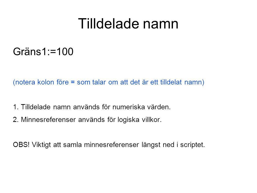 Tilldelade namn Gräns1:=100 (notera kolon före = som talar om att det är ett tilldelat namn) 1. Tilldelade namn används för numeriska värden. 2. Minne