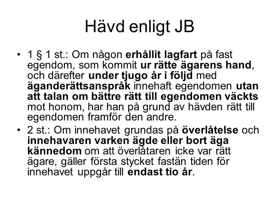 Hävd enligt JB 1 § 1 st.: Om någon erhållit lagfart på fast egendom, som kommit ur rätte ägarens hand, och därefter under tjugo år i följd med ägander