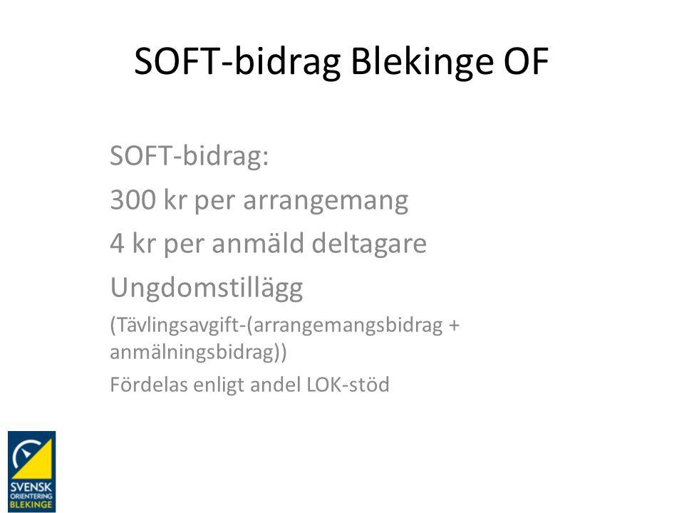SOFT-bidrag Blekinge OF SOFT-bidrag: 300 kr per arrangemang 4 kr per anmäld deltagare Ungdomstillägg (Tävlingsavgift-(arrangemangsbidrag + anmälningsb