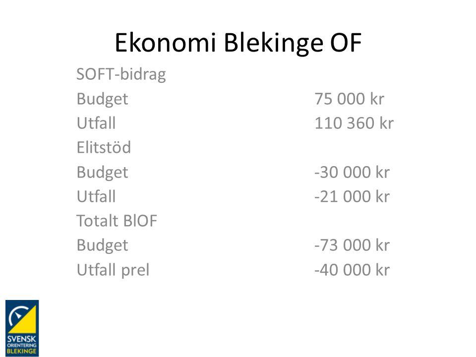 Ekonomi Blekinge OF SOFT-bidrag Budget75 000 kr Utfall110 360 kr Elitstöd Budget-30 000 kr Utfall-21 000 kr Totalt BlOF Budget-73 000 kr Utfall prel-4