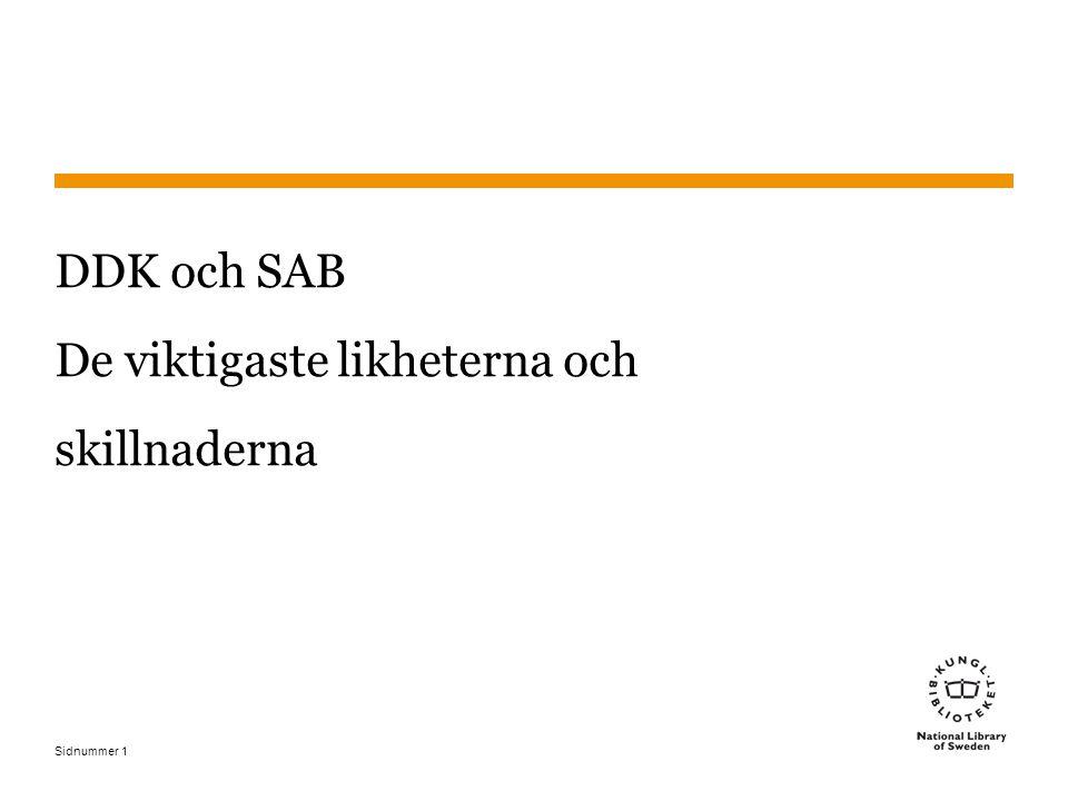 Sidnummer 12 Klartexter och ämnesord I SAB läggs även en del uppgifter i klartext till klassningen.