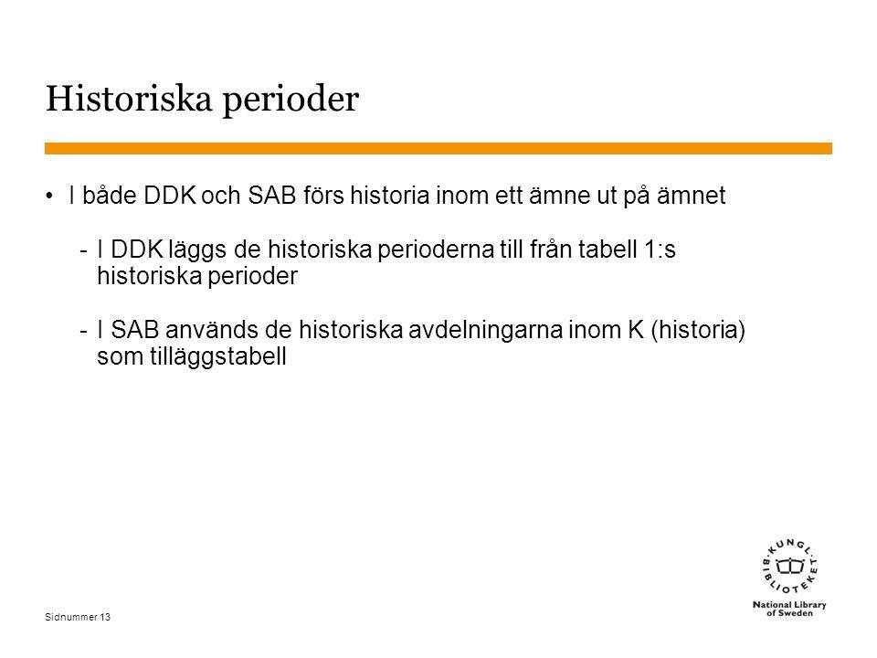 Sidnummer 13 Historiska perioder I både DDK och SAB förs historia inom ett ämne ut på ämnet -I DDK läggs de historiska perioderna till från tabell 1:s