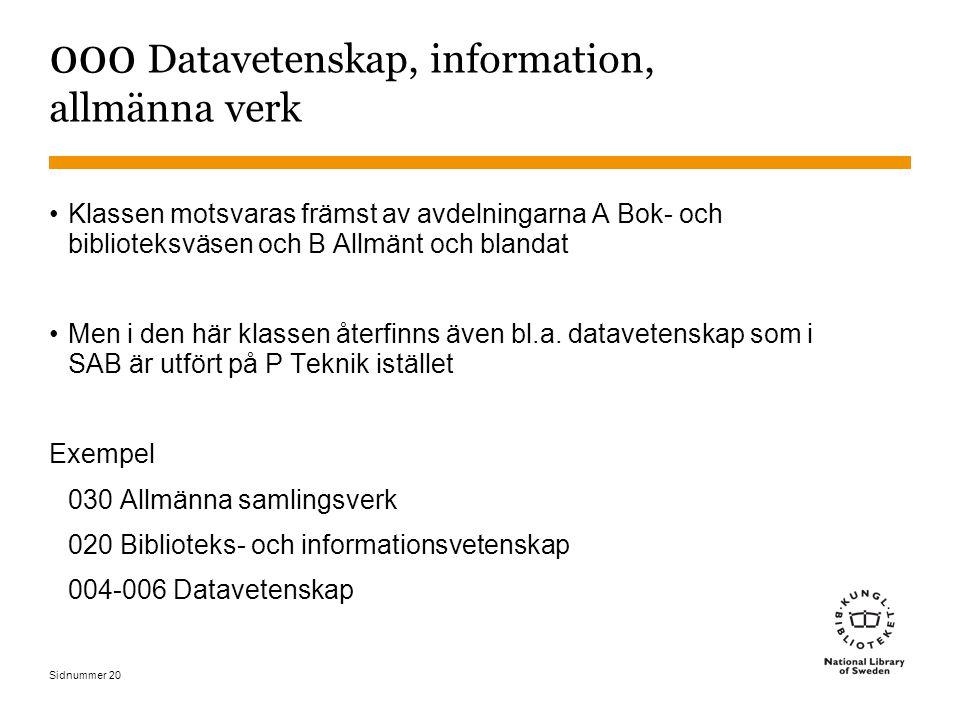 Sidnummer 20 000 Datavetenskap, information, allmänna verk Klassen motsvaras främst av avdelningarna A Bok- och biblioteksväsen och B Allmänt och blan