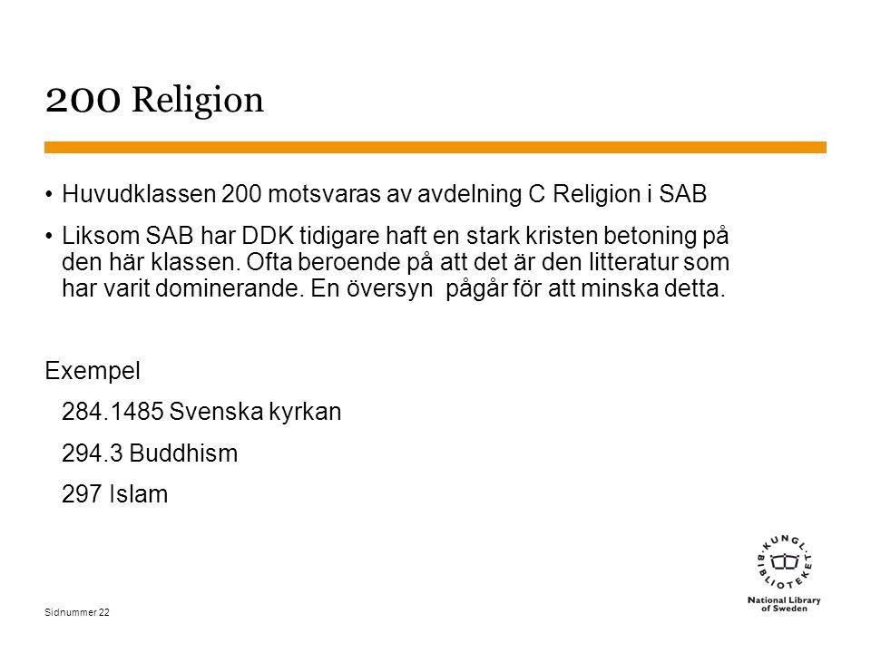 Sidnummer 22 200 Religion Huvudklassen 200 motsvaras av avdelning C Religion i SAB Liksom SAB har DDK tidigare haft en stark kristen betoning på den h
