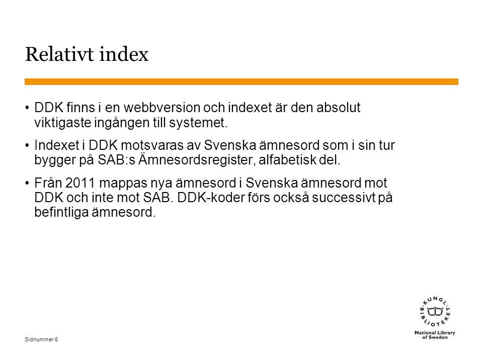 Sidnummer 6 Relativt index DDK finns i en webbversion och indexet är den absolut viktigaste ingången till systemet. Indexet i DDK motsvaras av Svenska