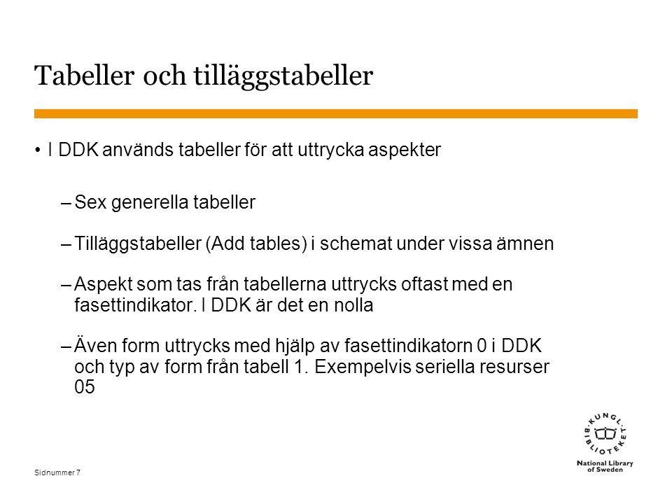 Sidnummer 8 Tabeller och tilläggstabeller (forts) I SAB används också tabeller (tilläggsbeteckningar) för att uttrycka aspekter –Generella hjälptabeller –Särskilda tilläggsbeteckningar i schemat under vissa ämnen –I SAB uttrycks oftast aspekten med en fasettindikator också.