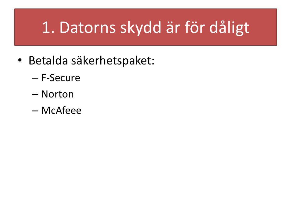 1. Datorns skydd är för dåligt Betalda säkerhetspaket: – F-Secure – Norton – McAfeee