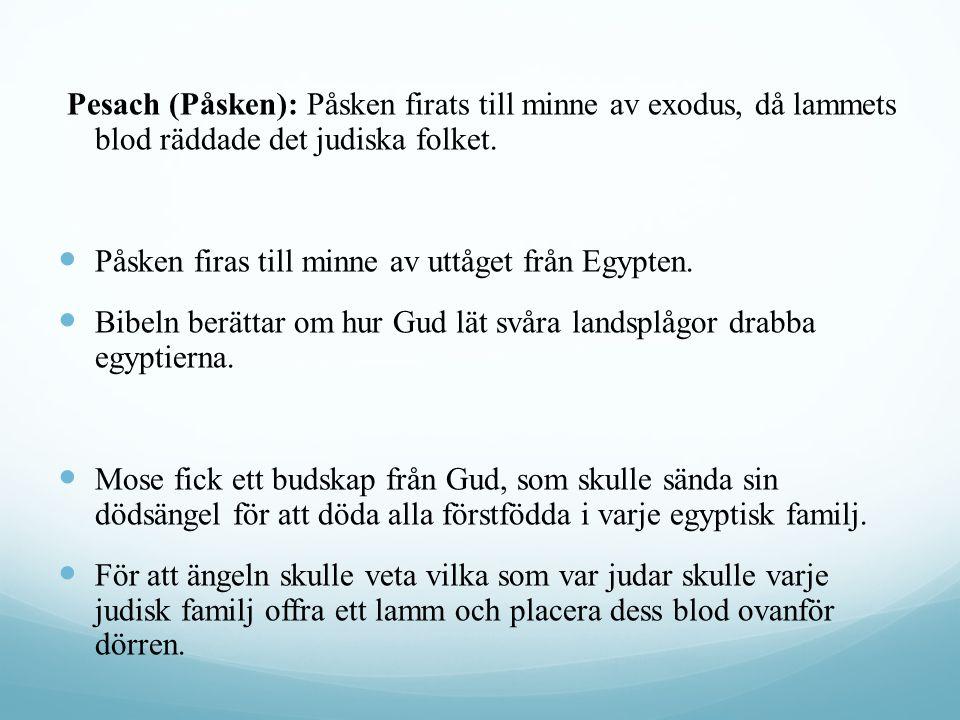 Pesach (Påsken): Påsken firats till minne av exodus, då lammets blod räddade det judiska folket. Påsken firas till minne av uttåget från Egypten. Bibe