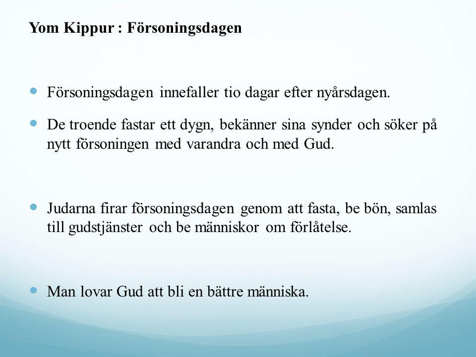 Yom Kippur : Försoningsdagen Försoningsdagen innefaller tio dagar efter nyårsdagen. De troende fastar ett dygn, bekänner sina synder och söker på nytt