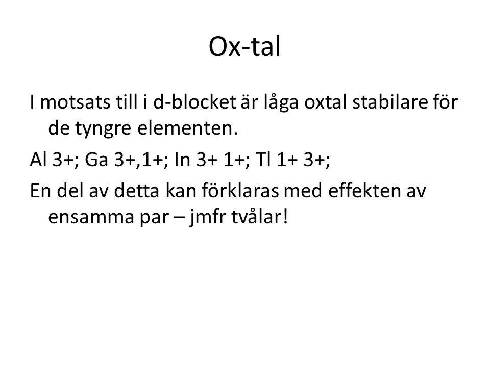 Ox-tal I motsats till i d-blocket är låga oxtal stabilare för de tyngre elementen. Al 3+; Ga 3+,1+; In 3+ 1+; Tl 1+ 3+; En del av detta kan förklaras