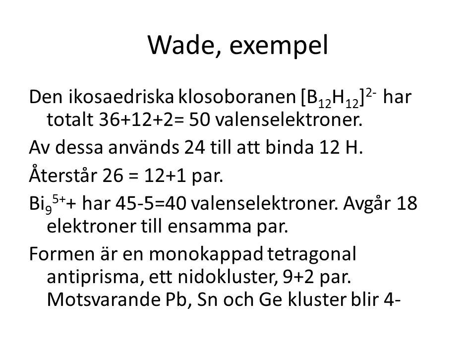 Wade, exempel Den ikosaedriska klosoboranen [B 12 H 12 ] 2- har totalt 36+12+2= 50 valenselektroner. Av dessa används 24 till att binda 12 H. Återstår