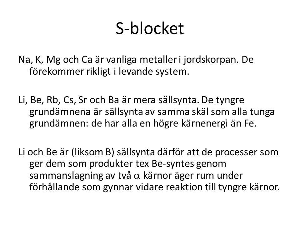 S-blocket Na, K, Mg och Ca är vanliga metaller i jordskorpan. De förekommer rikligt i levande system. Li, Be, Rb, Cs, Sr och Ba är mera sällsynta. De