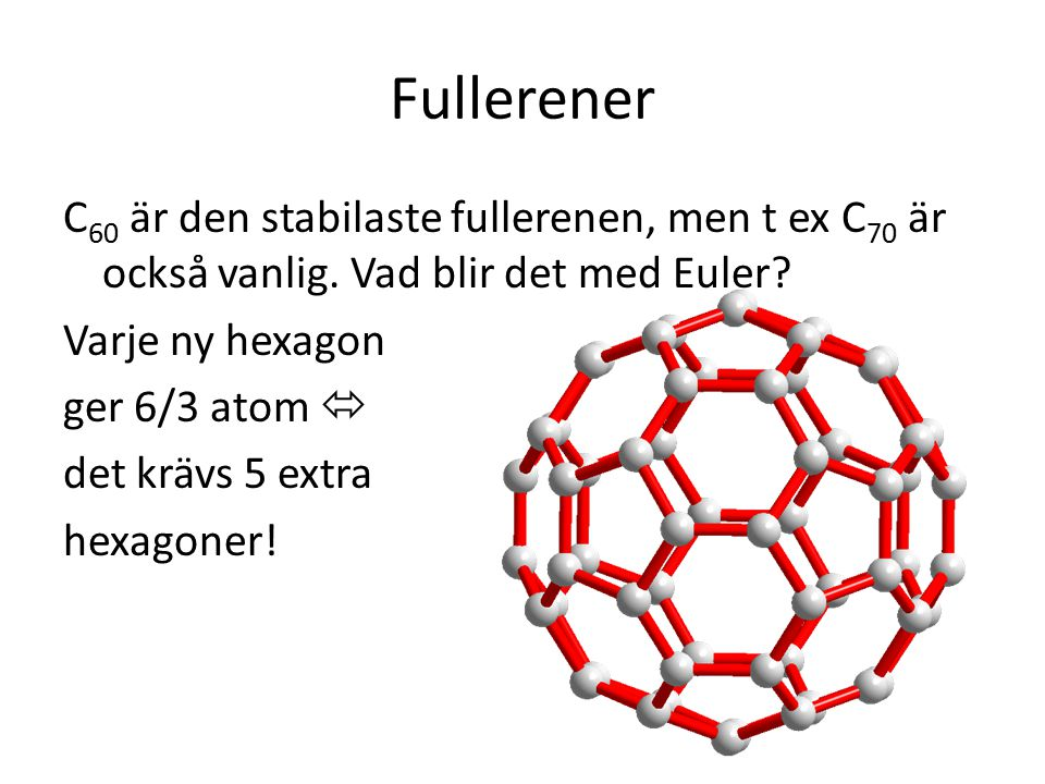 Fullerener C 60 är den stabilaste fullerenen, men t ex C 70 är också vanlig. Vad blir det med Euler? Varje ny hexagon ger 6/3 atom  det krävs 5 extra