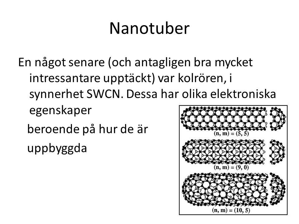 Nanotuber En något senare (och antagligen bra mycket intressantare upptäckt) var kolrören, i synnerhet SWCN. Dessa har olika elektroniska egenskaper b