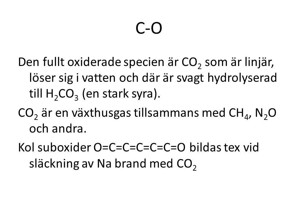 C-O Den fullt oxiderade specien är CO 2 som är linjär, löser sig i vatten och där är svagt hydrolyserad till H 2 CO 3 (en stark syra). CO 2 är en växt