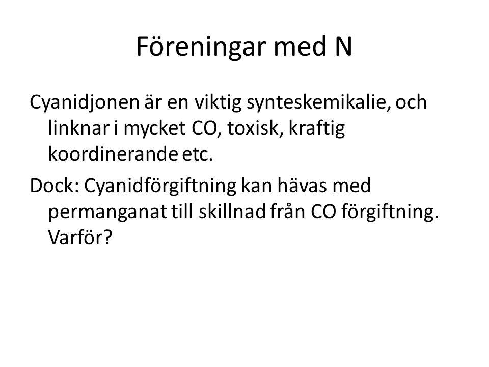 Föreningar med N Cyanidjonen är en viktig synteskemikalie, och linknar i mycket CO, toxisk, kraftig koordinerande etc. Dock: Cyanidförgiftning kan häv