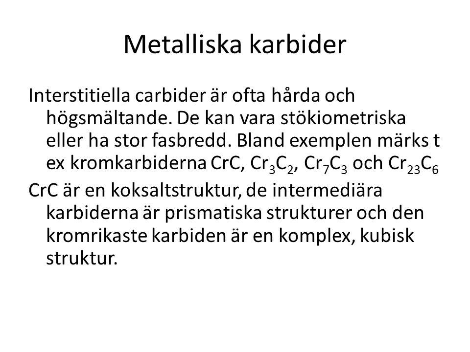 Metalliska karbider Interstitiella carbider är ofta hårda och högsmältande. De kan vara stökiometriska eller ha stor fasbredd. Bland exemplen märks t