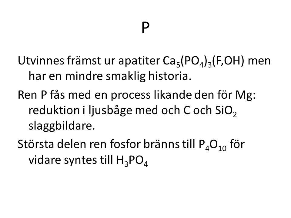 P Utvinnes främst ur apatiter Ca 5 (PO 4 ) 3 (F,OH) men har en mindre smaklig historia. Ren P fås med en process likande den för Mg: reduktion i ljusb