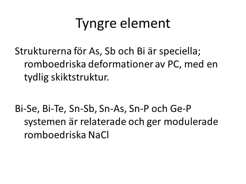 Tyngre element Strukturerna för As, Sb och Bi är speciella; romboedriska deformationer av PC, med en tydlig skiktstruktur. Bi-Se, Bi-Te, Sn-Sb, Sn-As,