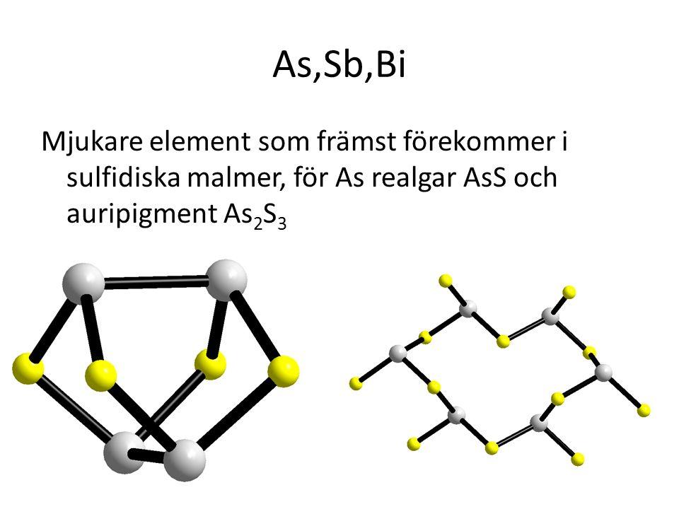 Mjukare element som främst förekommer i sulfidiska malmer, för As realgar AsS och auripigment As 2 S 3