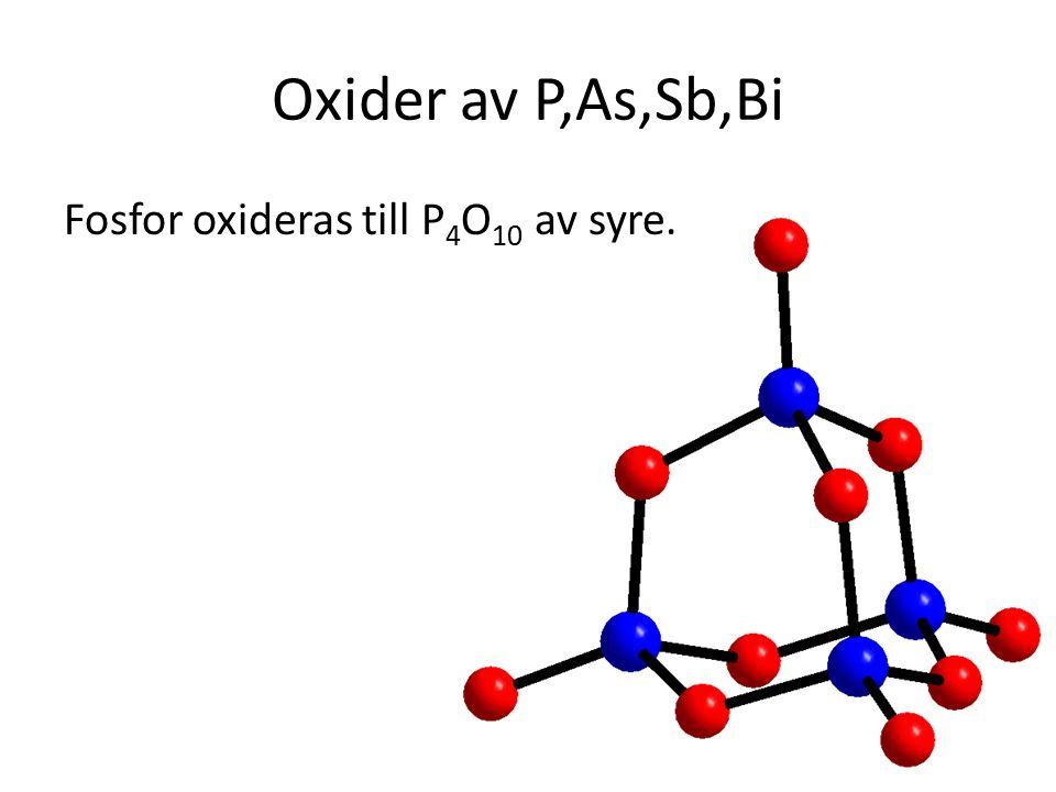 Oxider av P,As,Sb,Bi Fosfor oxideras till P 4 O 10 av syre.