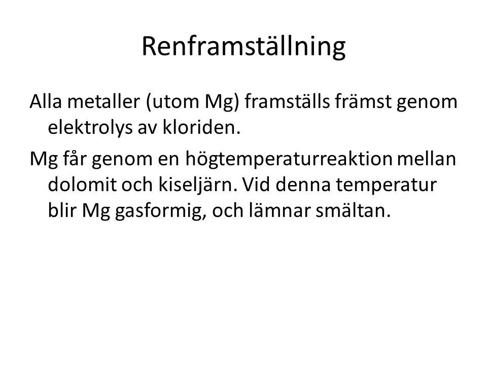 Renframställning Alla metaller (utom Mg) framställs främst genom elektrolys av kloriden. Mg får genom en högtemperaturreaktion mellan dolomit och kise