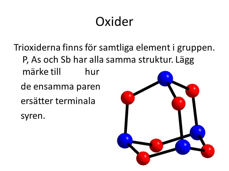 Oxider Trioxiderna finns för samtliga element i gruppen. P, As och Sb har alla samma struktur. Lägg märke till hur de ensamma paren ersätter terminala